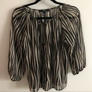 FOREVER 21 XXI PRINTED PATTERN TOP BLACK BROWN SM